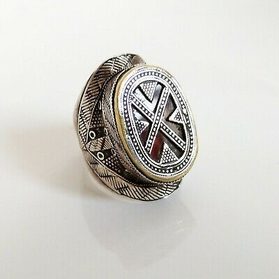 VINTAGE KAZAKH ETHNIC Traditional Old Silver Tribal Ring size 11 US