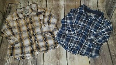 EUC Baby Boy's Plaid Button Down Shirts Size 6-9 Months The Childrens Place #546