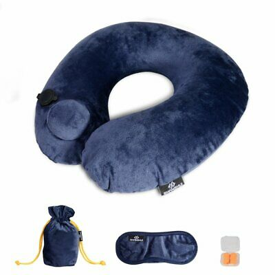 Inflatable Travel Pillow. Washable U Shape Neck Support with Eye Mask & Earplugs