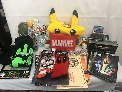 Lot Of Various Items From Lootcrate Which Includes A Pokemon Beanie, Marvel Mug.