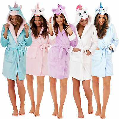 Loungeable Womens Unicorn 3D Hooded Dressing Gown Ladies New Soft Novelty Robe