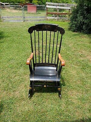 Vintage Nichols & Stone Black Spindle Bent Back Rocking Chair Local Pickup Only