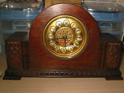 Dark Oak Chiming Mantle Clock German H.a.c.hamberg 1892