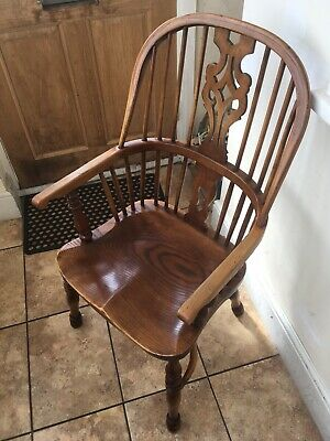 Antique Elm High Back Windsor Wheelback Wheel Back Chair Carver