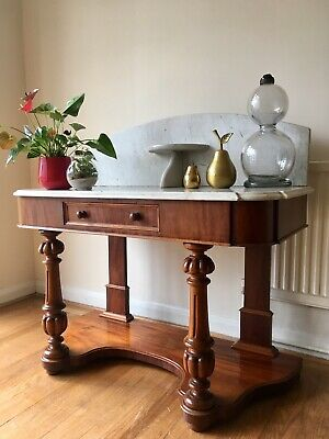 Victorian Mahogany & Marble Washstand Side Table Occasional   Console Table