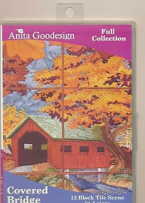 Anita Goodesign  COVERED BRIDGE 12 Block Tile Scene