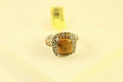 South African Tigers Eye 5.3ct & Citrine Sz8 Ring on 925 Sterling Silver Jewelry