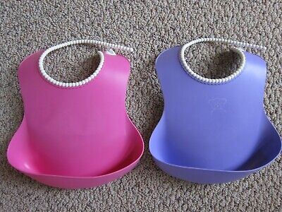 Baby Bjorn 2 Soft Bibs, Babybjorn, Easy To Clean Silicone Bibs, Pink & Purple
