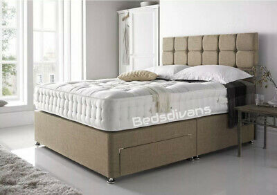 Divan Bed with Orthopedic 10 Foam Mattress 3 FT Single 4 FT 6 Double 5 ft Beige