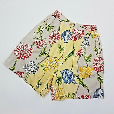 Vintage 80s Long Line Golf Tennis Sports Shorts Floral Baroque Tulips | 4