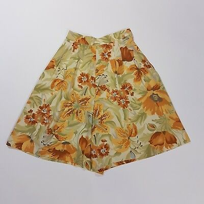 Vintage Shorts 80s Longline High Waist Yellow Orange Tiger Lily Floral  | 4