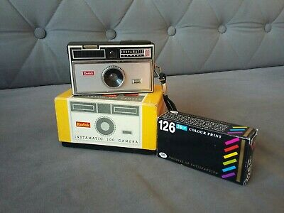 Kodak Instamatic 100 Outfit vintage camera boxed + new roll of expired film