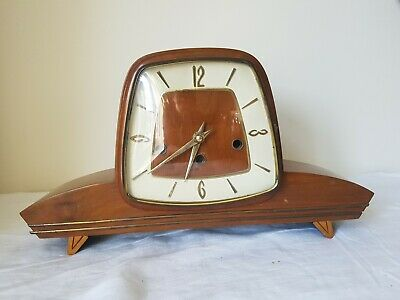 Retro Electric Mid Century Teak And Brass Vintage Mantel Clock Westminster Chime