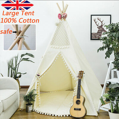 Large Canvas Kids Teepee Tent Childs Wigwam Indoor Outdoor Play House Gift White