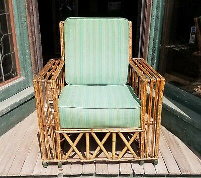 Antique Split Reed Rattan Bamboo  Arm Chair