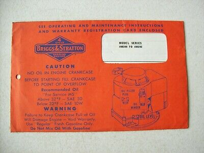 Original Briggs & Stratton 100200 to 100292 Engine ~ Operating Instructions