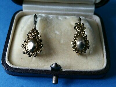 Antique Victorian Gold Metal Pinchbeck nearly matching Earrings.