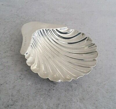 Small Antique. Solid Silver Shell Shape Butter Dish On Ball Feet.   Sheff. 1908.