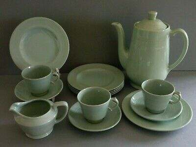 "Woods Ware Beryl Green - Coffee Set: Pot, Jug, Demitasse Cups/Saucers, 6"" Plates"