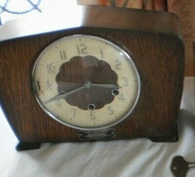 Vintage Mantle Clock.Westminster Chimes Smith's Movement  Key