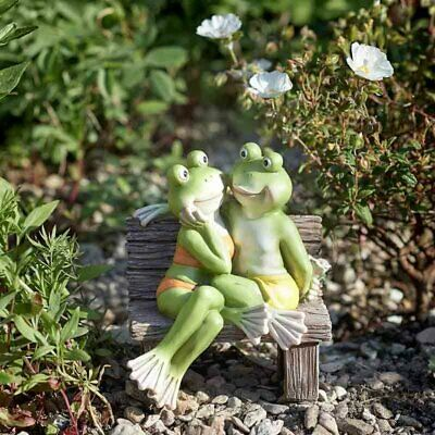 Romantic Frogs on Bench Lawn Ornament Fromance Garden Figure Weatherproof