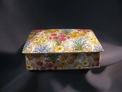 Vtg Royal Winton Grimwades Marguerite Chintz Pttn - Candy Trinket Cigarette Box