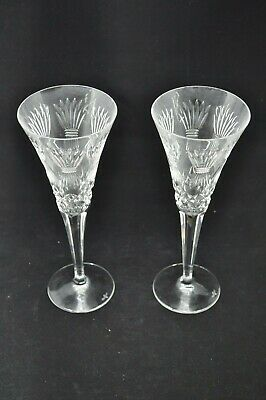 2 WATERFORD CRYSTAL Millennium Prosperity Wheat CHAMPAGNE FLUTES GLASSES
