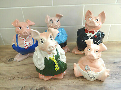 Set Of Original Wade Natwest Pig Money Banks Boxes - With Original Stoppers