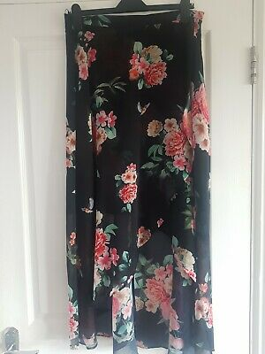 Ladies F&F Black Floral Asymmetrical Wrap Skirt - Size UK 14 (EUR 42). Exc Cond.