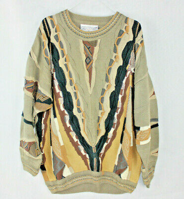 Vintage 80s BIGGIE SMALLS Woven Embroidered KNIT JUMPER Coogi Kee NEW WAVE Mens