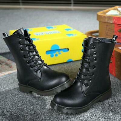 Kids Boys Girls Military Combat Biker Leather Ankle Mid Calf Boots Hiking Shoes