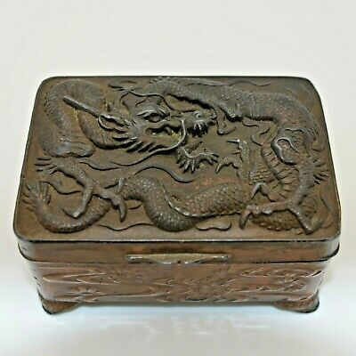 Antique Chinese DRAGON Themed Trinket Box Solid COPPER Unsigned