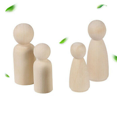 20 Pcs Hard Unfinished Wooden Doll Natural Female Peg Paint Kids Toy Male
