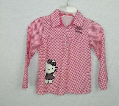 Hello Kitty H&M Shirt Girl's Pink,White and Purple Hearts Size 6-7Y