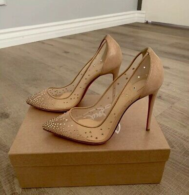 bd181425860 CHRISTIAN LOUBOUTIN - Nude - Follies Strass - 100mm - Sold Out! - Size 38