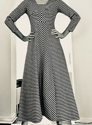 Vintage 70s silver and black metallic long sleeve maxi dress size 14