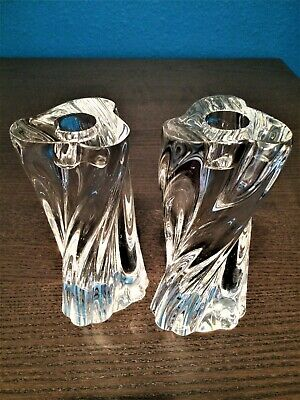 BACCARAT France - Odilon Twisted Crystal Clear Candlestick Candle Holders Pair