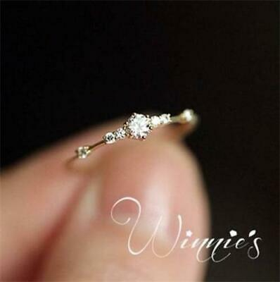 14k gold 7 tiny diamond pieces of exquisite small fresh ladies engagement ring