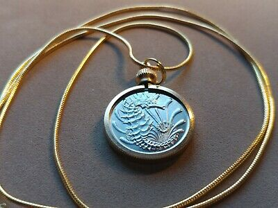"""1981 Singapore Seahorse Coin Pendant on a 24"""" 18KGF Gold Filled Snake Chain 20mm"""