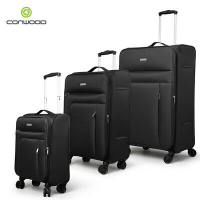 New Conwood 3pc Carry On Suitcase Luggage Set Soft Lightweight Trolley Bag Black
