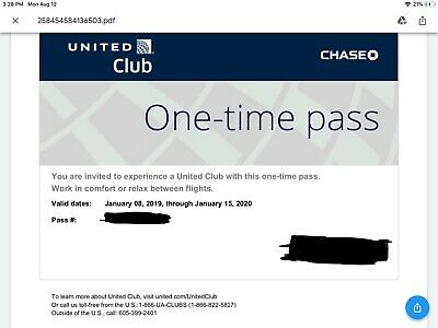 United Airlines UA Club One-Time Pass - Quick Email Delivery - Expires 1/15/2020