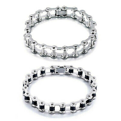 Men Stainless Steel Silver Chain Link Motorcycle Biker Bracelet Wristband Bangle