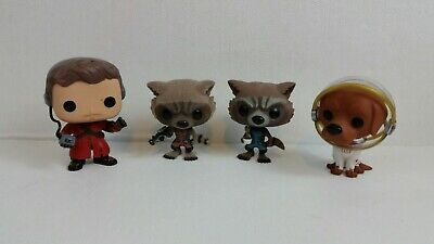 Lot Rare Funko Pop Marvel Guardians Of The Galaxy Rocket Raccoon 48 Flocked SDCC