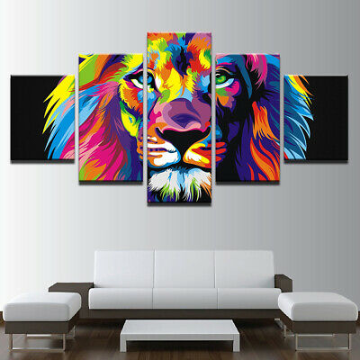 Abstract Animals Colourful Lion Canvas Prints Painting Wall Art Poster 5PCS