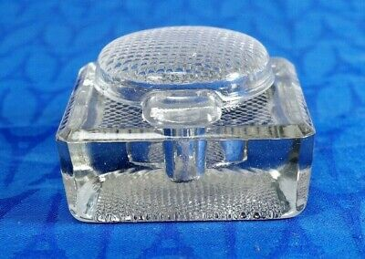 "Antique Heavy Glass square block INKWELL with lid. 3"" x 3""  NICE!"
