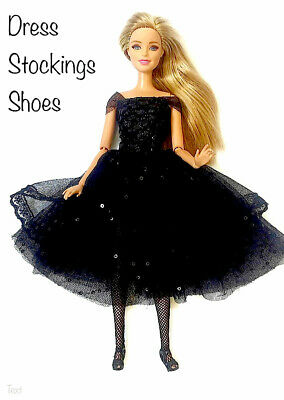 New Barbie doll clothes party evening outfit BLACK dress stockings shoes