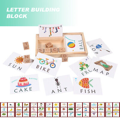 Wooden English Spelling Alphabet Letter Game Kids Early Learning Education Toy