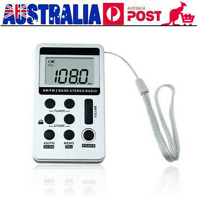 Portable Pocket FM/AM 2 Band Radio Receiver Rechargeable Battery w/Earphone D4Y2