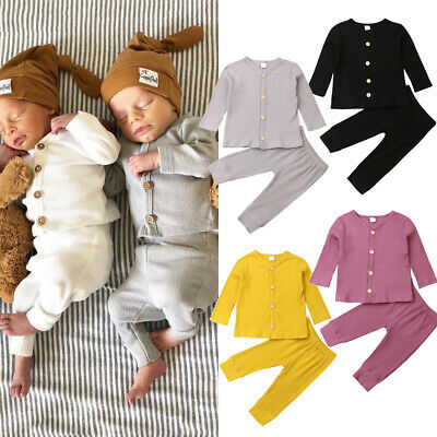 UK Newborn Baby Girl Boy Autumn Clothes Knitted Cardigan Tops+Long Pants Outfits