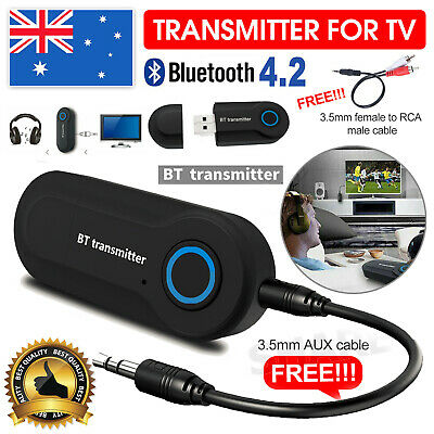 Wireless Bluetooth 4.2 Transmitter Stereo Audio Adapter Sender for TV PC Speaker